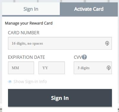 Activation at YourRewardCard.com